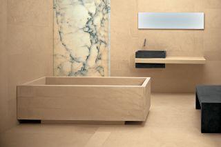 Carved marble bathtub
