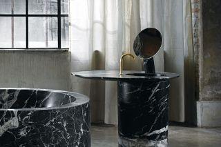 Mirror in Nero Marquinia and brass